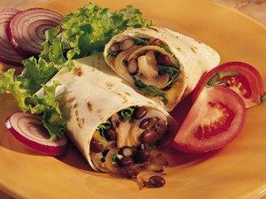 Vegetarische wraps met champignons