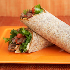 Wraps met biefstuk en chilipepers