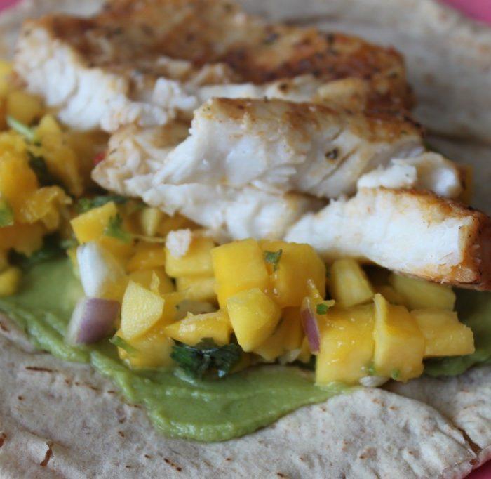 Wraps met mango en tilapia