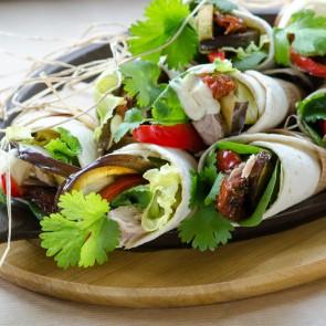 Wraps met tonijn en aubergine